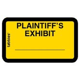 "Legal Exhibit Labels, ""Plaintiff's"", 1-5/8""x1"",252/PK,Yellow"