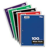 Wirebound 1-Subject Notebook, Wide Rule, 100 Sheets/Pad
