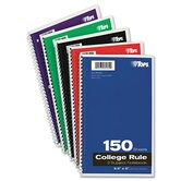 Wirebound 3-Subject Notebook, College Rule, 150 Sheets/Pad