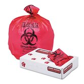 "Health Care ""Bio-hazard"" Printed Liners, 1.3mil, 24 x 32, Red, 250 per Carton"