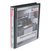 Deluxe Round Ring Vinyl View Binder, 1in Capacity, Black