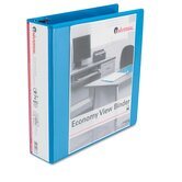 Economy D-Ring Vinyl View Binder, 2in Capacity, Light Blue