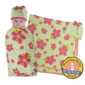 Posies Swaddle Blanket and Cap Set in Green