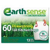 EarthSense Recycled Can Liners, 13 gallon, White, 60 Bags per Pack