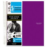 Five Star Hook 'N Go! Wirebound Notebooks, College, 8 1/2 X 11, 1 Subject 100 Sheets