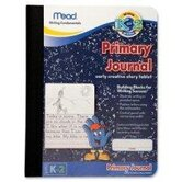 Primary Journal,Narrow Ruled, 9-3/4&quot;x7-1/2&quot;, White Paper/Black Cover.