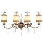 La Bella Four Light Vanity Light in Vintage Gold Leaf