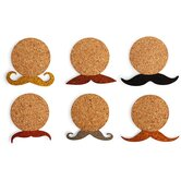 Mustache Cork Coasters (Set of 6)