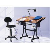 Creation Station Melamine Drafting Table with Chair
