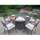 Mississippi 7 Piece Dining Set with Cooler Insert and Cushions