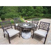 Stone Art 5 Piece Bistro Set with Cooler