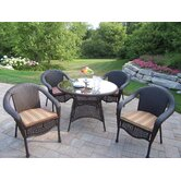 Resin Wicker 5 Piece Dining Set with Cushions