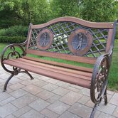 Double Golfer Cast Iron and Wood Park Bench