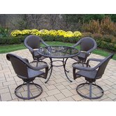 Elite Resin Wicker 5 Piece Swivel Dining Set