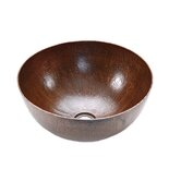Medium Round Hammered Copper Vessel Sink in Oil Rubbed Bronze