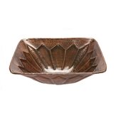 Square Feathered Hammered Copper Vessel Sink in Oil Rubbed Bronze