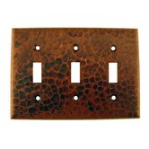 Copper Switchplate Triple Toggle Switch Cover in Oil Rubbed Bronze