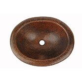Oval Self Rimming Hammered Copper Bathroom Sink