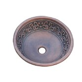 Leaf Design Topmount Round Copper Vessel Sink
