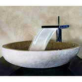 Hand Carved Boulder Vessel Sink in Sand