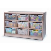 Nine Tray Melamine Storage Unit in Maple