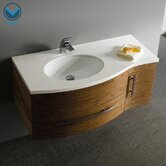 "Distinct Wall Mounted 44"" Bathroom Vanity Set in Walnut"