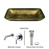 Copper Glass Rectangular Vessel Sink with Faucet in Chrome