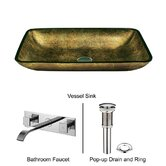 Copper Glass Vessel Sink with Faucet in Chrome