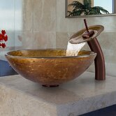 Textured Copper Vessel Sink and Waterfall Faucet
