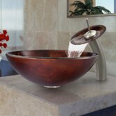Fusion Glass Vessel Sink and Waterfall Faucet