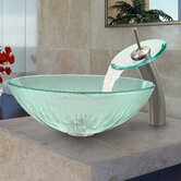 Icicles Glass Vessel Sink and Waterfall Faucet
