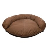 Saddle Stitch Twill Bolster Dog Bed in Chocolate