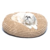 Round Plush &quot;Button&quot; Pet Bed in Beach
