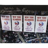 NY Islanders Stanley Cup Banners In the Rafters 16 Signature 20x24 Photograph