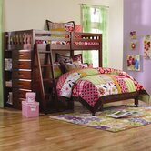 DWF1154Weston Twin over Full L-Shaped Bunk Bed with Bookshelves and Storage