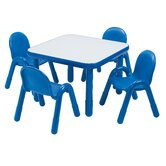 Square Baseline Preschool Table and Chair Set in Royal Blue