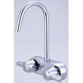 Leg Double Handle Deck Mount Tub Only Faucet Trim 3.38&quot; Centers and 6.88&quot; Gooseneck Spout Trim
