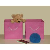Folding Storage Bins in Pink (Set of 2)