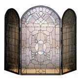 Beveled Glass 3 Panel Fireplace Screen