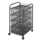 Onyx Mesh Mobile Cart with Four Drawers in Black
