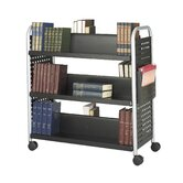 Scoot Double Sided Six Shelf Book Cart in Black