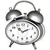 Oval Double Bell Melody Alarm Clock in Glossy Silver
