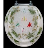 Magnolia Dragonflies Resin Round Toilet Seat with Chrome Hinge