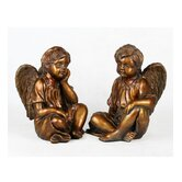 Two Piece Cherub Statue Set in Golden