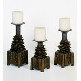 Pine Cone Candlesticks (Set of 3)