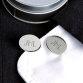 Oval Cuff Links in Silver
