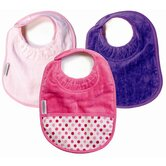 Girl Bibs 3 Pack in Pale Pink and Purple Plain, and Fuchsia with Pocket