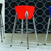 Space Bar Stool with Red Seat in Chrome
