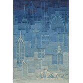 Lil Mo Hipster Blue Farm Land Kids Rug