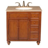 "Mary 36"" Bathroom Vanity in Chocolate Brown with Marble Top"